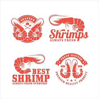 Coleção de logotipos de restaurantes de camarão e frutos do mar