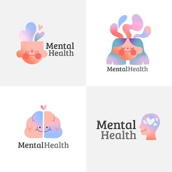Coleção de logotipos de saúde mental gradiente