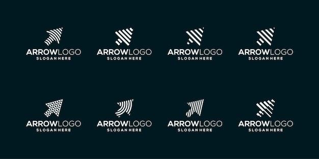 Coleção de logotipos de setas, ponteiros, cursores com linhas geométricas abstratas.