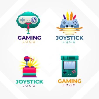 Coleção de logotipos de videogame para empresas em estilo gradiente