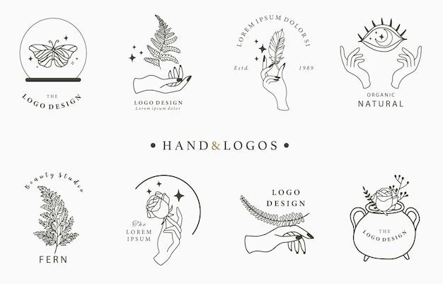 Coleção de logotipos desenhados à mão