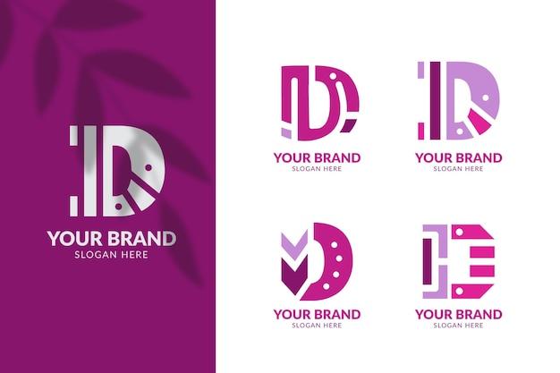 Coleção de logotipos diferentes de design plano