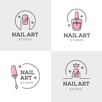 Coleção de logotipos do nails art studio
