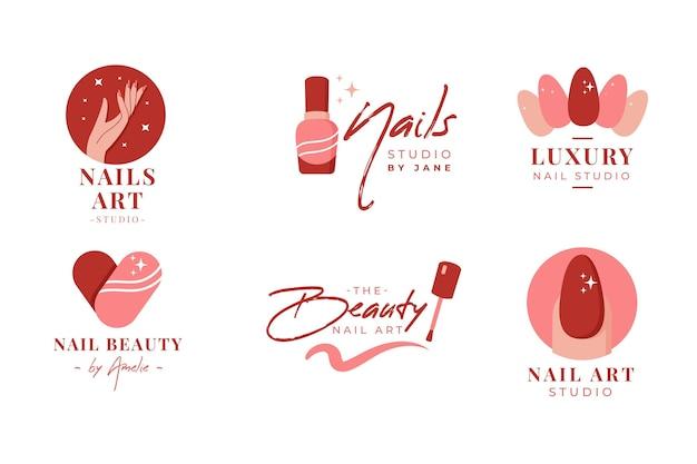 Coleção de logotipos do nails art studio