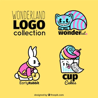 Coleção de logotipos do país das maravilhas