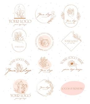 Coleção de logotipos e ícones desenhados à mão