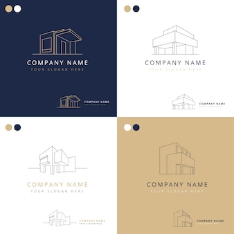 Coleção de logotipos elegantes de construções de arquitetura