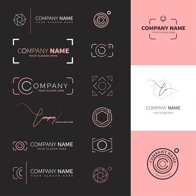 Coleção de logotipos elegantes e modernos para fotógrafos