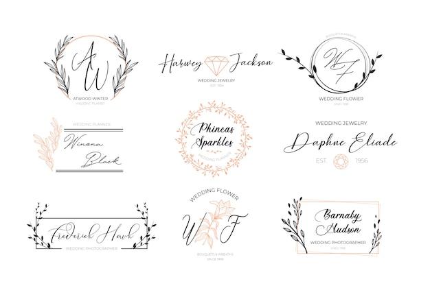 Coleção de logotipos elegantes florais