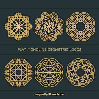 Coleção de logótipos geométricos monolares planos