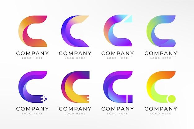 Coleção de logotipos gradiente c
