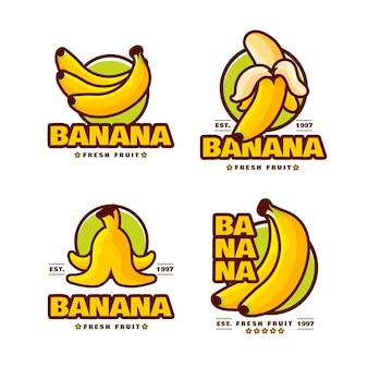 Coleção de logotipos ilustrados de banana