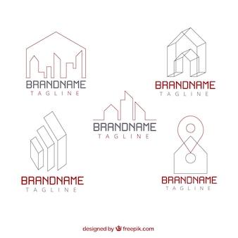 Coleção de logotipos imobiliários em design plano