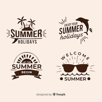 Coleção de logotipos minimalistas de verão