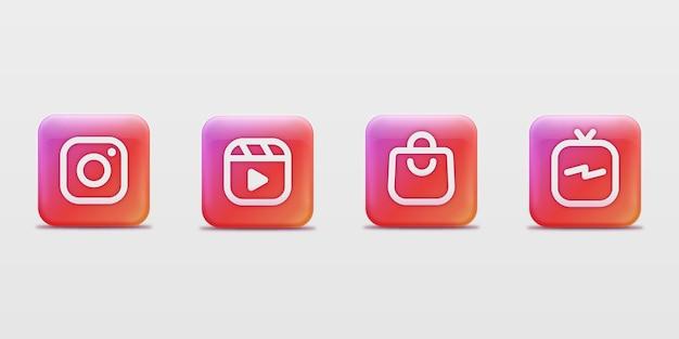 Coleção de logotipos modernos de aplicativos do instagram quadrados em 3d