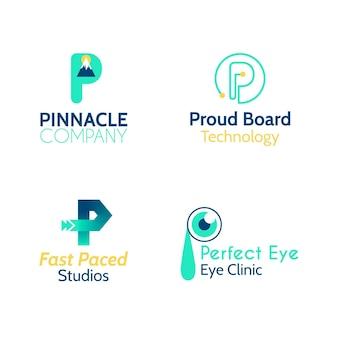 Coleção de logotipos p de design plano