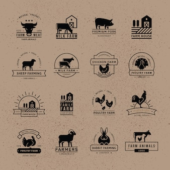 Coleção de logotipos para agricultores, supermercados e outras indústrias.