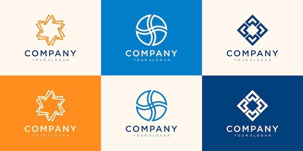 Coleção de logotipos para seu negócio. associação, aliança, unidade, trabalho em equipe.