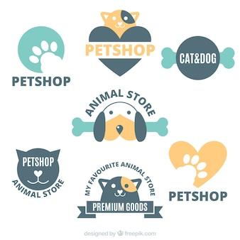Coleção de logotipos para uma loja de animais