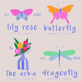 Coleção de logotipos pré-fabricados de borboletas e libélulas
