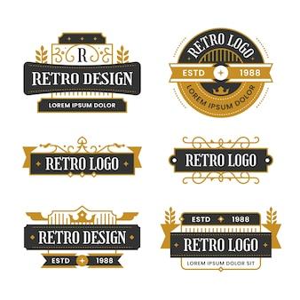 Coleção de logotipos retrô dourados