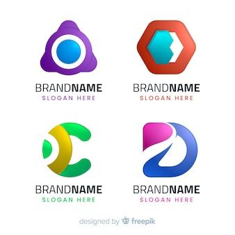 Coleção de logotipos tecnológicos geométricos de gradiente