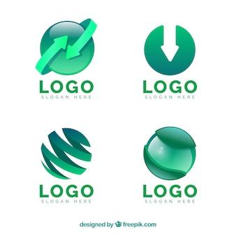 Coleção de logotipos verdes abstratos
