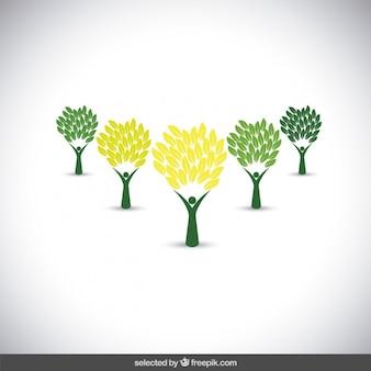Coleção de logotipos verdes da árvore