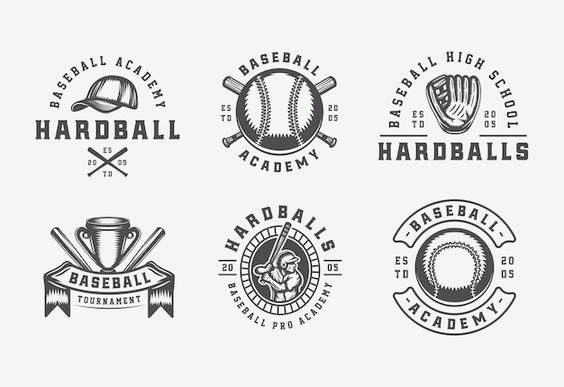 Coleção de logotipos vintage de esportes de beisebol