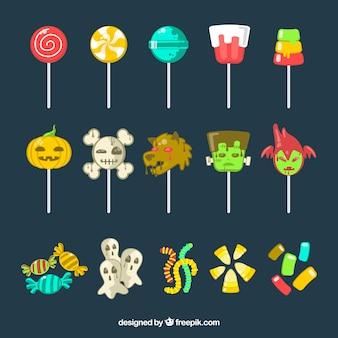 Coleção de lollipop de halloween no design plano