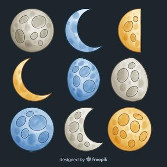 Coleção de lua aquarela colorida