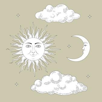 Coleção de lua e sol