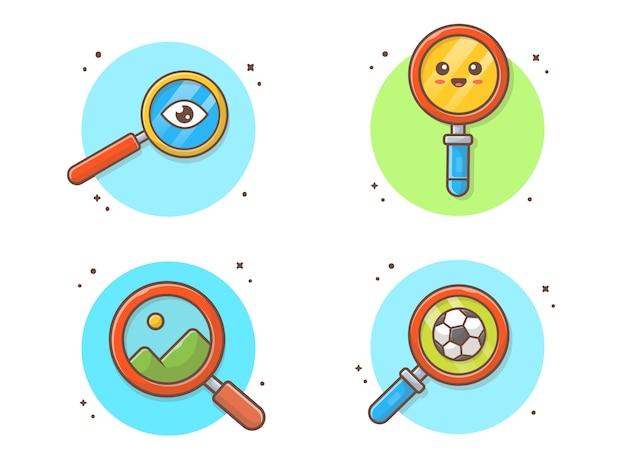 Coleção de lupa icon ilustração