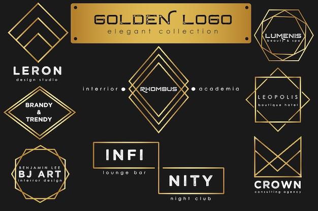 Coleção de luxo de logotipo dourado