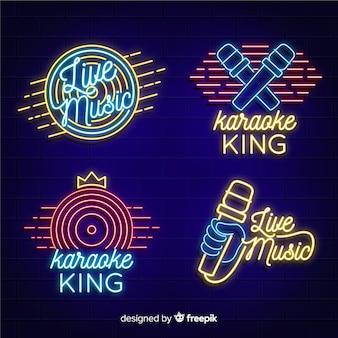 Coleção de luz de néon com conceito de karaoke