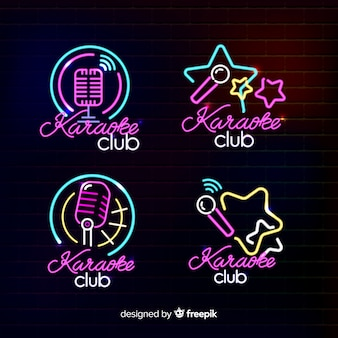 Coleção de luz neon de karaokê