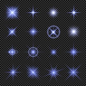 Coleção de luzes brilhantes em azul