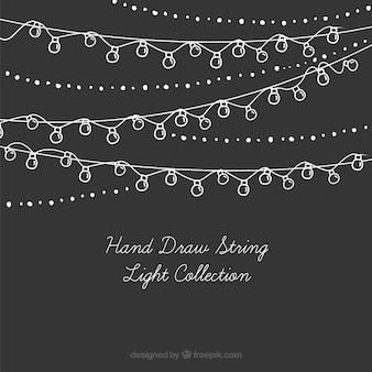 Coleção de luzes cadeia desenhados à mão