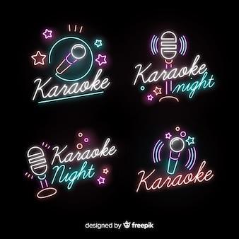 Coleção de luzes de karaoke néon