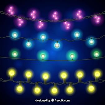 Coleção de luzes de natal realistas
