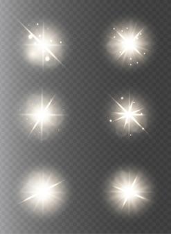 Coleção de luzes e estrelas em fundo transparente