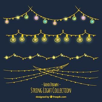Coleção de luzes ornamentais guirlandas desenhados à mão