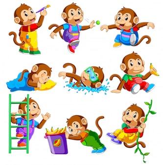 Coleção de macaco em diferentes poses de ilustração