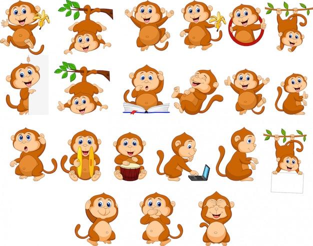 Coleção de macaco feliz dos desenhos animados com diferentes ações