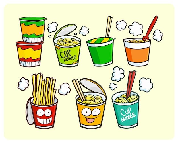 Coleção de macarrão engraçado no estilo kawaii doodle