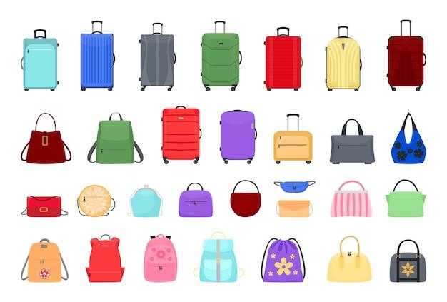Coleção de malas, malas e mochilas