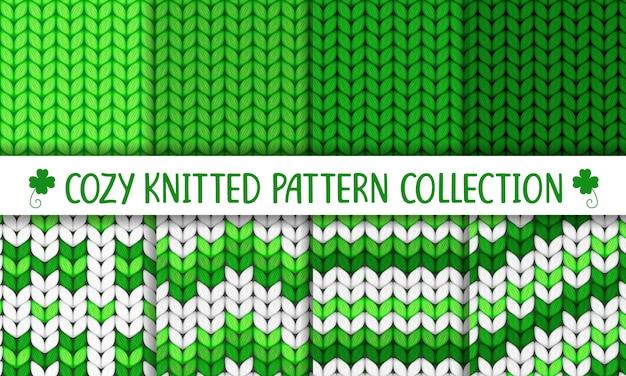 Coleção de malha padrão verde e branco