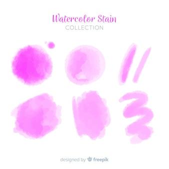 Coleção de mancha aquarela realista rosa