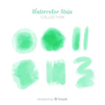 Coleção de mancha aquarela realista verde