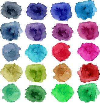 Coleção de mancha em aquarela, elementos de cor brilhante